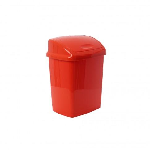 Cos gunoi Agora Plast din plastic, forma dreptunghiulara, rosu, cu capac batant, 18L