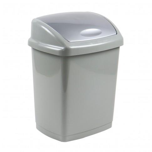Cos gunoi Agora Plast din plastic, forma dreptunghiulara, gri, cu capac batant, 18L