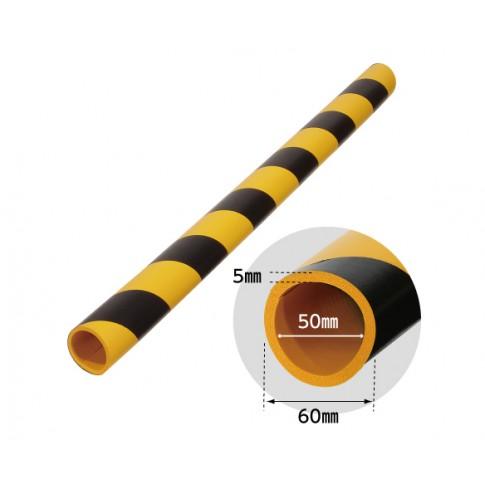 Banda protectie moale din spuma de cauciuc AC-107, cilindrica, dungi negru / galben, grosime 5 mm, D 50 mm, 90 cm