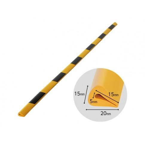 Banda protectie muchii din spuma de cauciuc AC-134, dungi negru / galben, grosime 5 mm, 90 cm