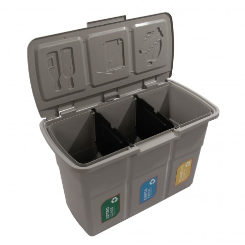 Cos gunoi colectare selectiva Plastina Ecopat 83003 din plastic, forma dreptunghiulara, diverse culori, cu capac, 3 x 25L