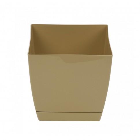 Ghiveci din plastic Coubi, patrat, maro 18 x 18 x 16.5 cm