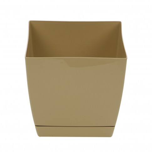 Ghiveci din plastic Coubi, patrat, maro 24 x 24 x 22 cm