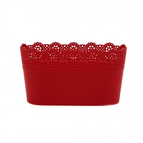 Ghiveci din plastic Lace, rosu D 28.5 cm