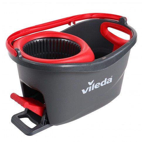 Mop rotativ microfibra Easy Wring & Clean Turbo + coada telescopica + galeata + pedala cu sistem stoarcere 360 + orificiu scurgere, H = 130 cm