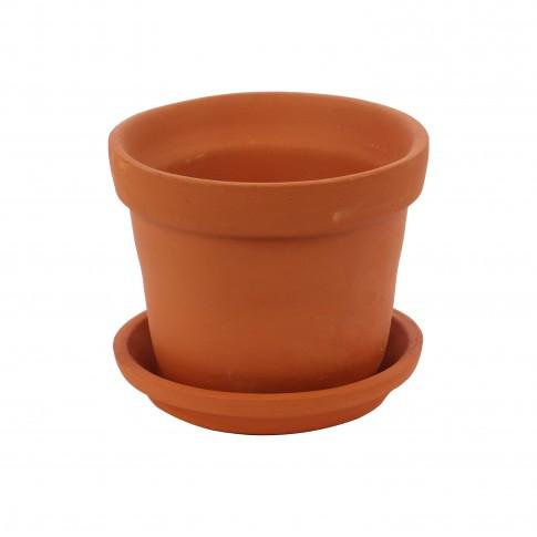 Ghiveci ceramic N 1 cu suport, teracota, rotund, 15 x 12 cm