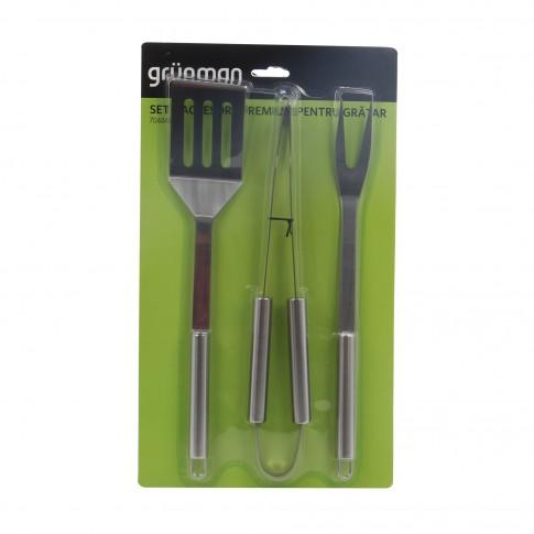 Set 3 accesorii pentru gratar Grunman Premium KY1514, otel, 36 cm