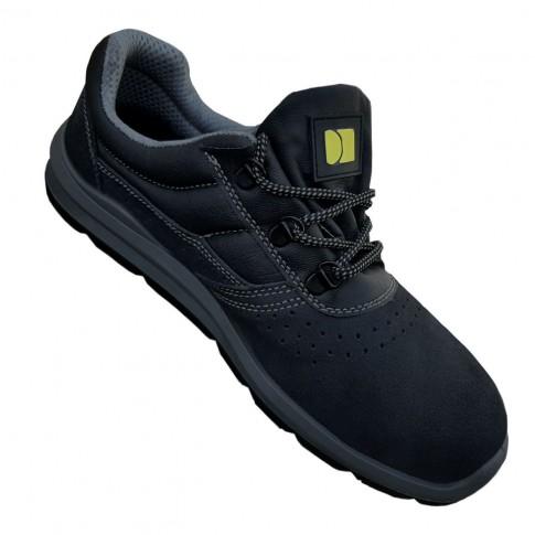 Pantofi de protectie DCT Silver, cu bombeu metalic, piele caprioara, gri inchis, S1 SRC, marimea 41