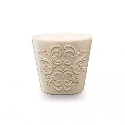 Masca ghiveci Retro, rotunda, ceramica, gri, D 16 cm
