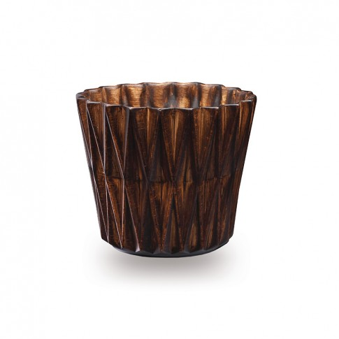 Masca ghiveci Geom, rotunda, ceramica, maro, D 16 cm