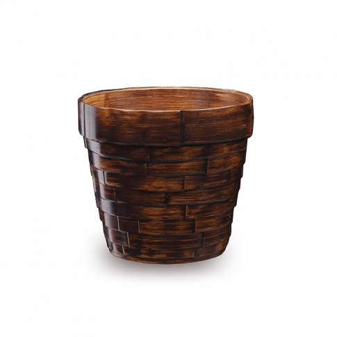 Masca ghiveci Grenada, rotunda, ceramica, maro, D 12 cm