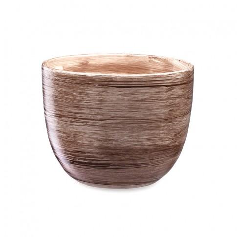 Ghiveci ceramic Barylka, capucino, rotund, 16 x 13 cm
