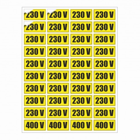 Indicator semalizare Priza 220/ 400 V, autocolant, 25 x 15 cm