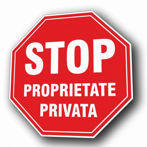 Indicator semnalizare Stop proprietate privata, PVC, 37 cm