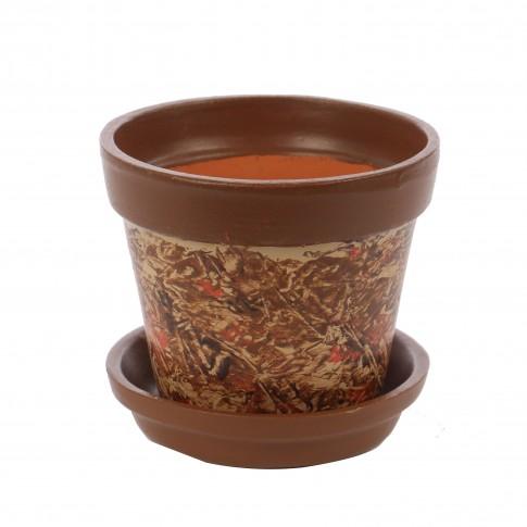 Ghiveci ceramic AC0 cu suport, diverse culori, rotund, 13 x 11 cm