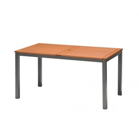 Masa fixa pentru gradina Kingsbury, metal + lemn eucalipt, dreptunghiulara, 6 persoane, 140 x 80 x 74 cm