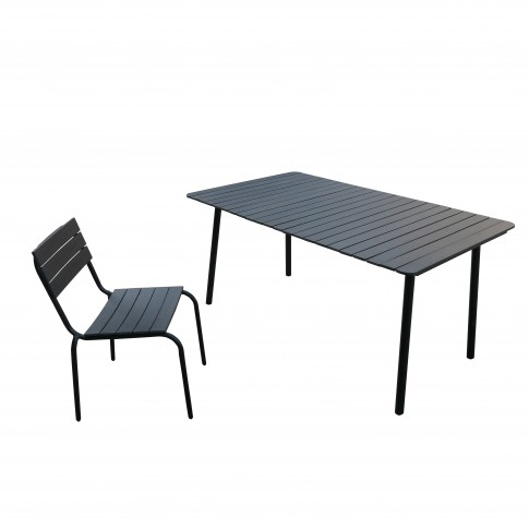 Set masa dreptunghiulara, cu 6 scaune, pentru gradina Nordic G264/263, din metal + plastic