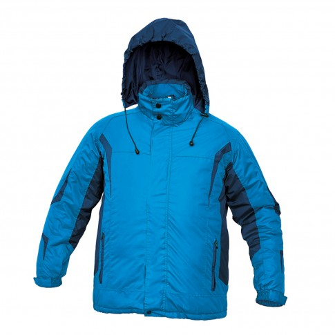 Jacheta de iarna Dalgeco Salcha, poliester, albastra, cu gluga, marimea XXL
