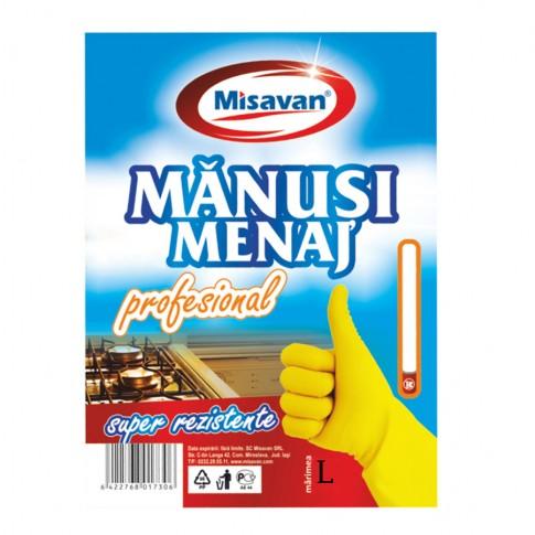 Manusi menaj Misavan, marimea L, latex, galbene