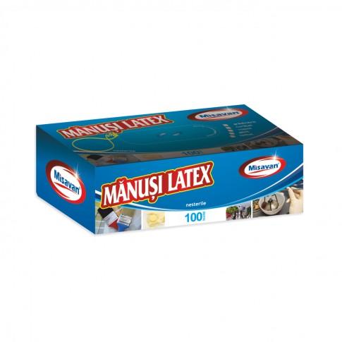 Manusi menaj Misavan cu pudra, marimea S, latex, albastre, 100 buc / set