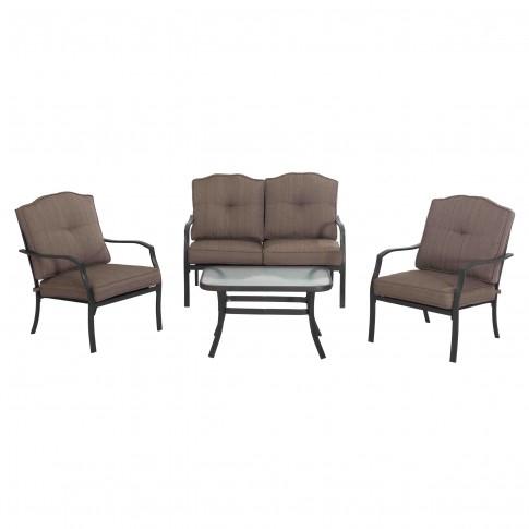 Set masa dreptunghiulara, cu 2 scaune + 1 canapea cu perne, pentru gradina Kentucky S-DN1797SST, din metal cu textil