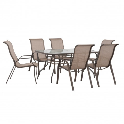Set masa dreptunghiulara, cu 6 scaune, pentru gradina Nevada S-DN1833SST-A-C, din metal cu textilen