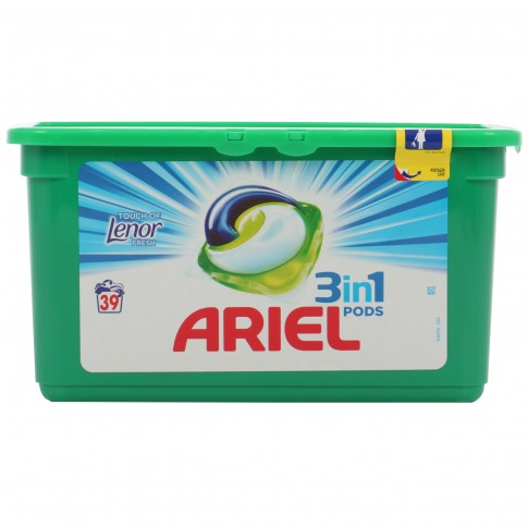Detergent de rufe, capsule, Ariel 3 in 1 Pods Touch of Lenor Fresh, 39 capsule