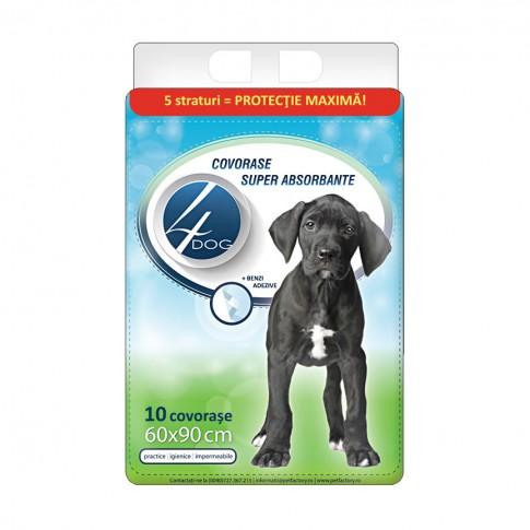 Covorase absorbante, 4 Dog, pentru caini, 60 x 90 cm, 10 buc