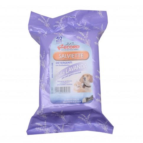 Servetele umede, antibacteriene, Record, cu lavanda, pentru caini si pisici, 40 buc