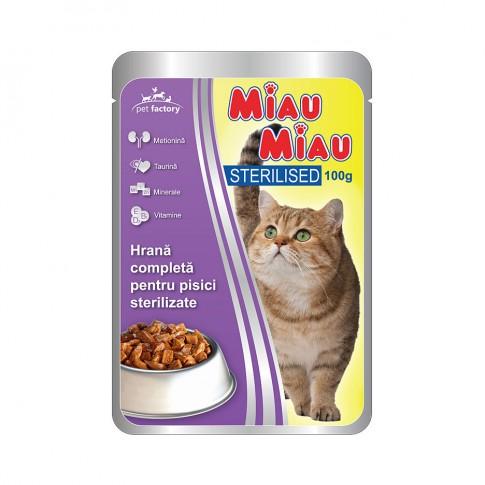 Hrana umeda pentru pisici sterilizate, Miau Miau, carne pui, 100 g