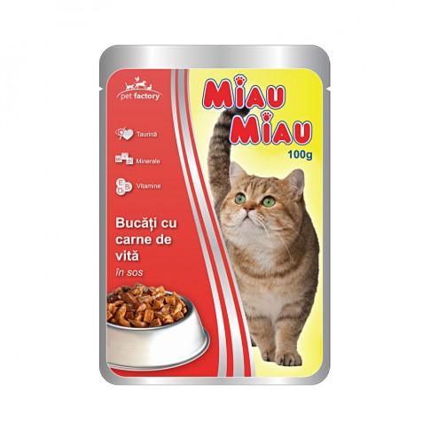 Hrana umeda pentru pisici, Miau Miau, adult, carne de vita, 100g
