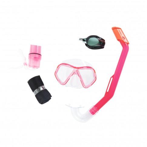 Ochelari inot copii Bestway Barracuda 24031 + masca + tub respiratie + laveta antiaburire, roz / albastru