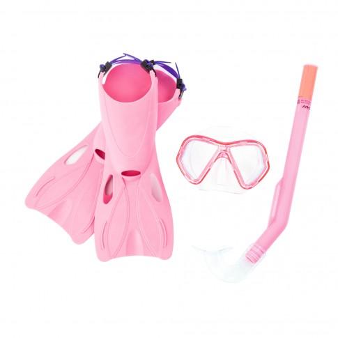 Set inot copii Snorkel Bestway 25024, masca + tub respiratie + labe inot, roz / albastru