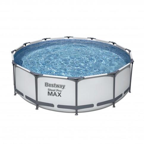 Piscina cu cadru metalic Bestway Pro Max, rotunda, cu pompa de filtrare + scara, 366 x 100 cm