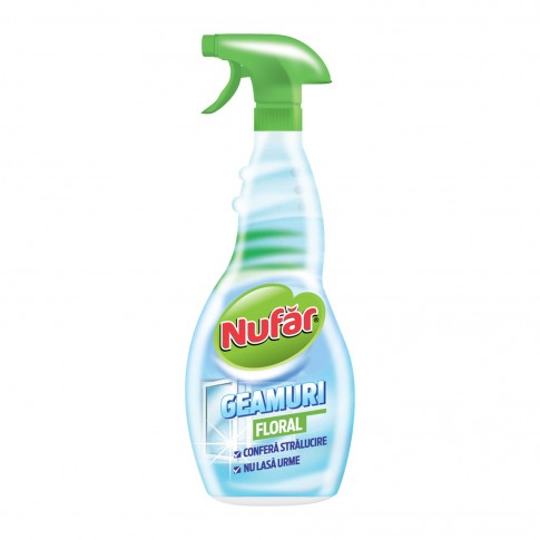 Detergent geamuri Nufar, floral, cu pulverizator, 500 ml