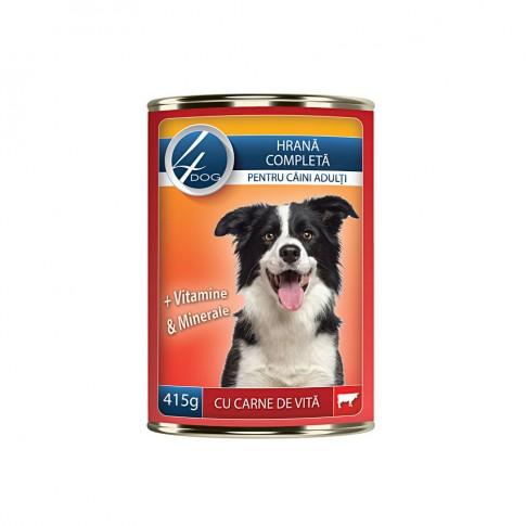 Hrana umeda pentru caini, 4Dog, adult, carne de vita 415g
