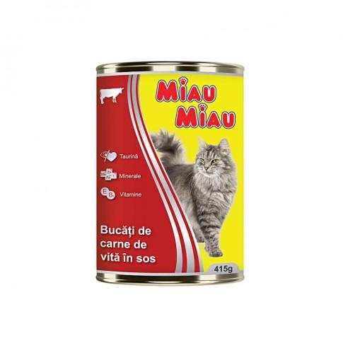 Hrana umeda pentru pisici, Miau Miau, carne vita, 415 g