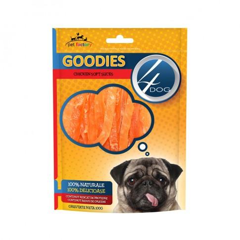 Hrana uscata pentru caini, 4 Dog soft chicken slices, carne de pui, 100g