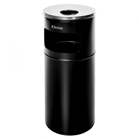 Cos gunoi cu scrumiera pentru exterior Esenia WB ES27 BL D 24 cm din otel, forma cilindrica, negru, 27L
