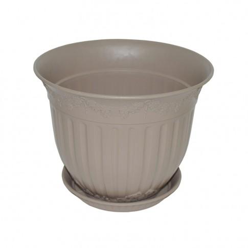 Ghiveci din plastic Calla, cu farfurie, nisip D 30 cm