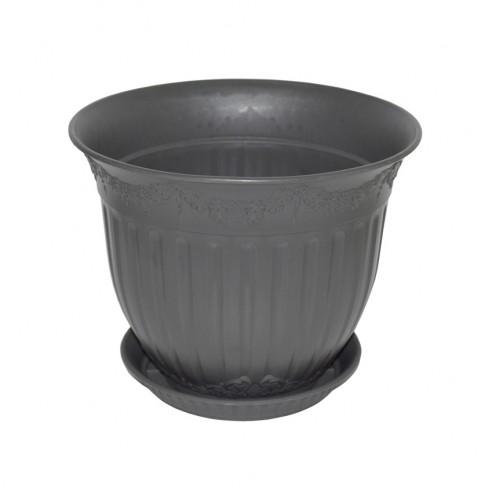 Ghiveci din plastic Calla, cu farfurie, antracit, D 45 cm