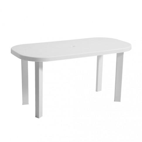 Masa fixa pentru gradina Garden, plastic, ovala, alba, 6 persoane, 140 x 70 x 70 cm