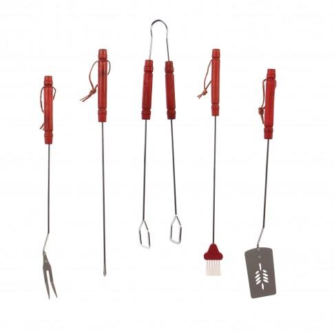 Accesorii pentru gratar Landmann, inox, cu maner lemn, 50 cm, set 5 buc