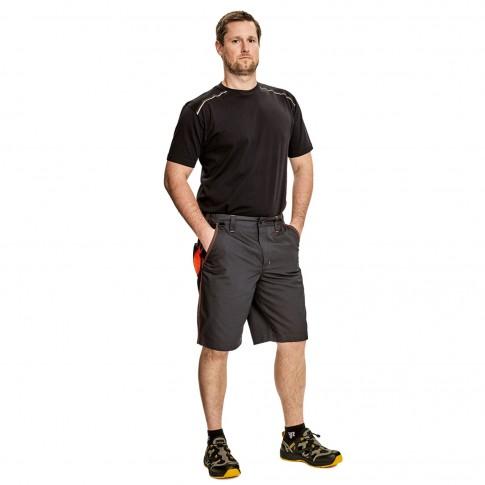 Pantaloni scurti pentru protectie Knoxfield, bumbac + poliester, gri-galben, marimea 56