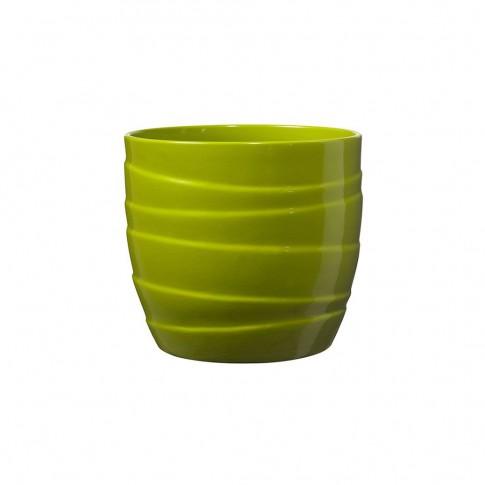 Masca ghiveci Barletta, rotunda, ceramica, verde, D 13 cm