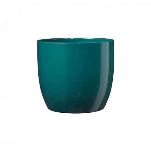 Masca ghiveci Basel, rotunda, ceramica, turcoaz, D 13 cm