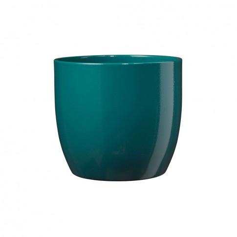 Masca ghiveci Basel, rotunda, ceramica, turcoaz, D 14 cm