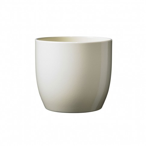Masca ghiveci Basel, rotunda, ceramica, crem, D 13 cm
