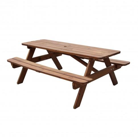 Set masa dreptunghiulara, cu 2 banci, pentru gradina Fort Picnic, din lemn, finisaj nuc