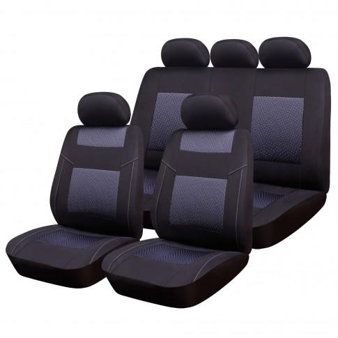Huse auto pentru scaun, Ro Group, Premium Line, negru+gri, set 9 bucati